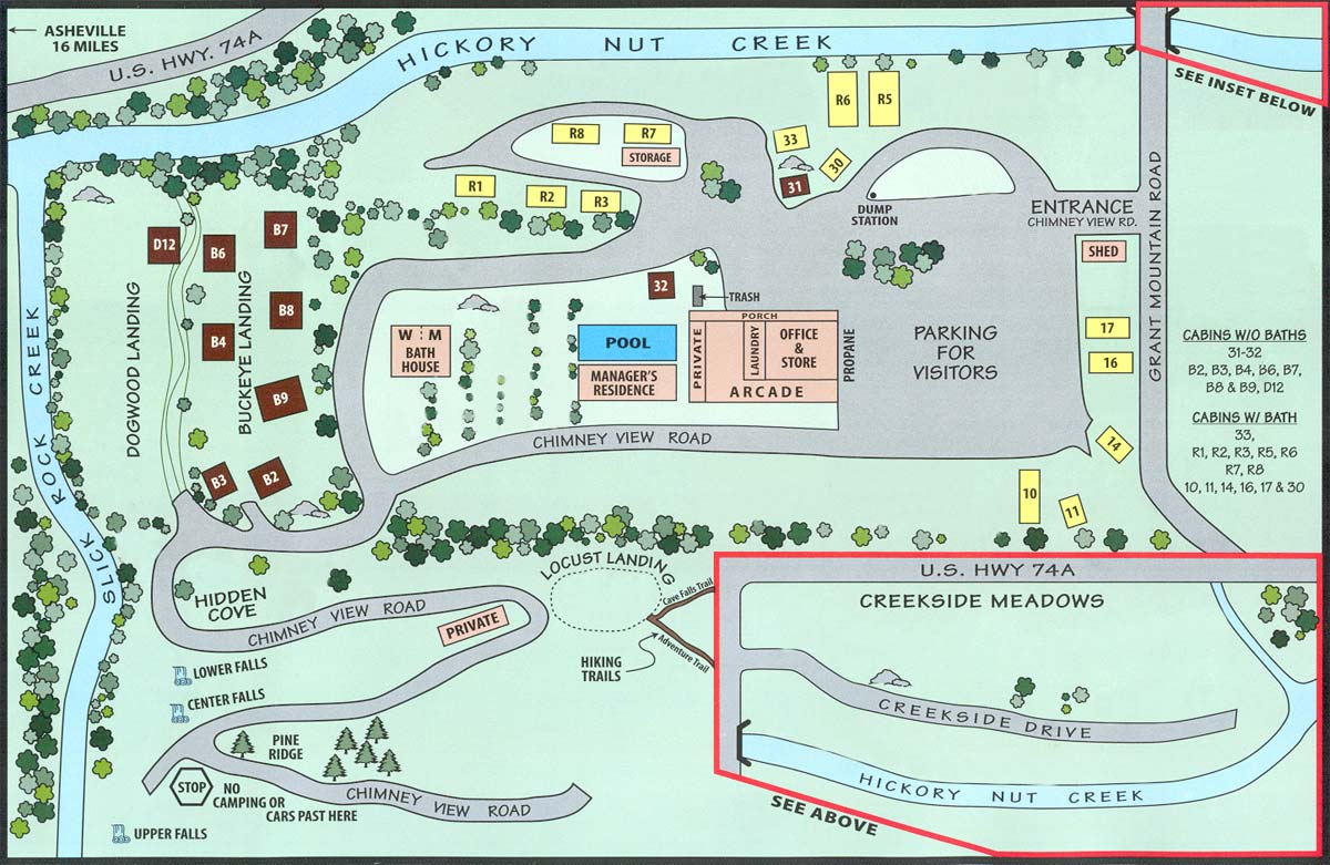 Creekside Mountain Camping Site Map Large